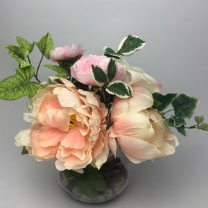 NEW Silk Floral Arrangement Rose Peach Peony